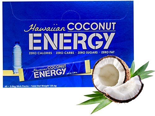 New Hawaiian Coconut Water Powder w/Energy 60 Packets (Natural Post- and Pre-Workout Energy Drink Powder Mix) (Nutrients 60 Packets)