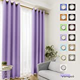 Vangao Light Blocking Lilac Blackout Curtains Girls Room Darkening Thermal Insulated Decorative Curtain Panels/Drapes Solid Grommet Top Window for Bedroom/Living room/Kids, Set of 2 Panels 52x84 Inch
