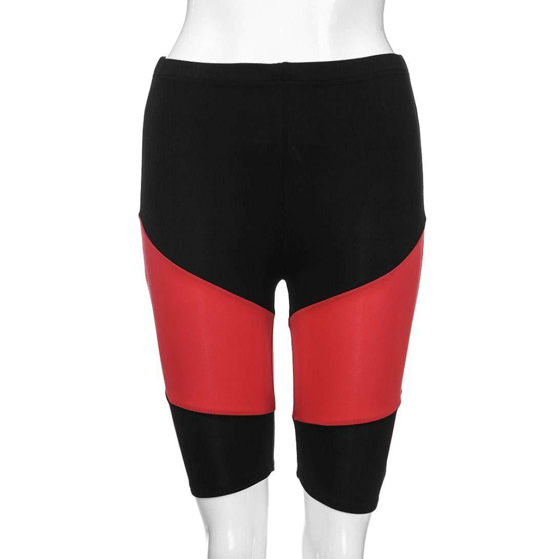 Womens Fashion Spliced Skinny Sports Pants High Waist Elastic Knee Fitness Mid Trousers