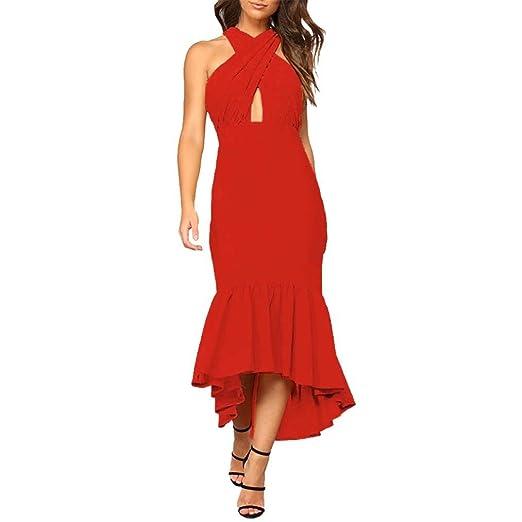 ceab80537 iHPH7 Dress, Women's Sleeveless Irregular Ruffle Summer Casual Beach Long  Maxi at Amazon Women's Clothing store: