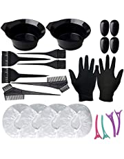 Mobestech 1 Set Hair Dye Coloring Kit with Tinting Bowls Dye Brushes Ear Covers Combs Hair Clips Rubber Gloves for Hair Coloring Bleaching DIY Hair Dye Tools