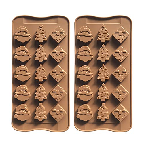 2pcs Christmas Silicone Molds for Baking Jelly Cookies, Chocolate Candy Mold - Gift Box, Christmas Tree, Santa Head (3 Shapes)