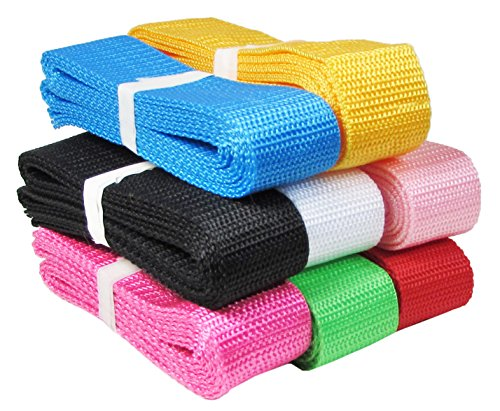 HipGirl 1 1/4 Inch Polypro Webbing, 8 x 2 Yards Bulk Set, for DIY Key Fob Hardware, Yoga Strap, Tote, Bag Handle, Backpack Strap, Belt Webbing Strap, Leash, Lawn Chair Webbing Replacement ()