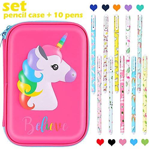 Unicorn Pencil Case Pen Set Large Capacity Pen Holder Stationery Box With Compartments + 10 Pcs Unicorn Flamingo Color Gel Pens - Unicorn Gift School Supplies for Girls Kids (Hot Pink)