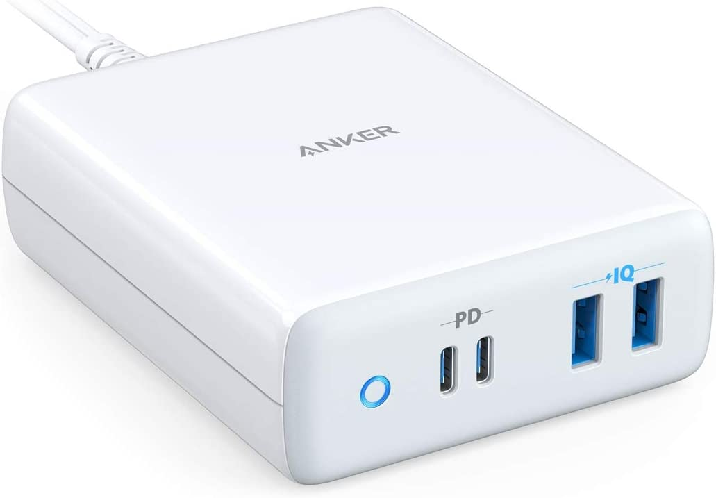 USB-C CHARGER ANKER 100W 4-PORT TYPE-C CHARGING STATION POWER DELIVERY POWERPORT ATOM PD 4 (INTELLIGENT POWER ALLOCATION) FOR MACBOOK PRO | AIR IPAD PRO PIXEL IPHONE XS | MAX | XR GALAXY AND MORE