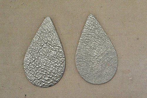 12pk-Leather Teardrop Large Die Cut Gun Metal Metallic Vegas DIY (Die Cut Leather)