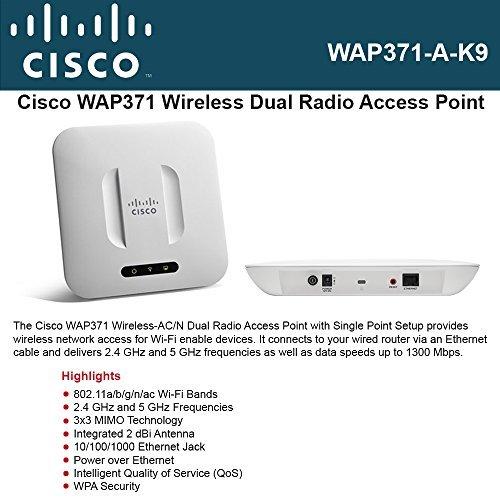 Cisco WAP371-A-K9 Small Business WAP371 - Wireless access point - 802.11a/b/g/n/ac - Dual Band by Cisco