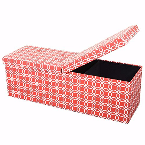 Otto & Ben 45″ Storage Ottoman with SMART LIFT Top, Upholstered Large Folding Foot Res ...