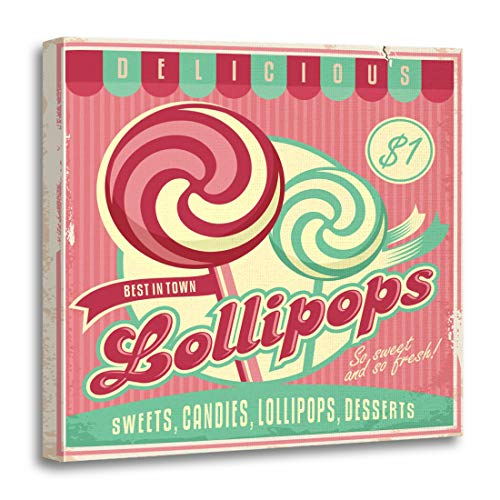 (Semtomn Canvas Wall Art Print Retro for Candy Lollipop Vintage Promotional Unique Label Sweets Artwork for Home Decor 12 x 12 Inches)