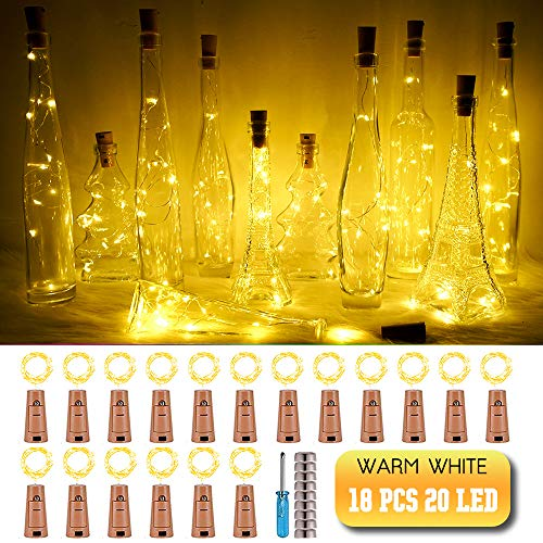 SunKite Wine Bottle String Lights with Cork,18 Pack 20 LED Warm White Mini Silver Copper Wire Fairy Lights Fit DIY Party Wedding Table Centerpieces Decor (Warm White)