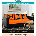 Furny Astra 3 Seater Sofa (Orange-Black)