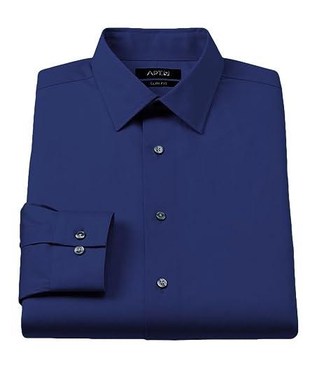 Apt. 9 Mens Slim Stretch Button Up Dress Shirt Bluedepths 17 at ...