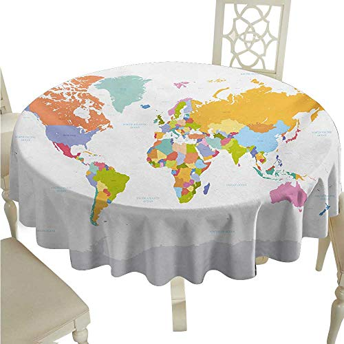 Anhounine Map Washable Table Cloth Highly Detailed Political Map of The World Global Positioning System Graphic Colorful Waterproof/Oil-Proof/Spill-Proof Tabletop Protector D60 Multicolor