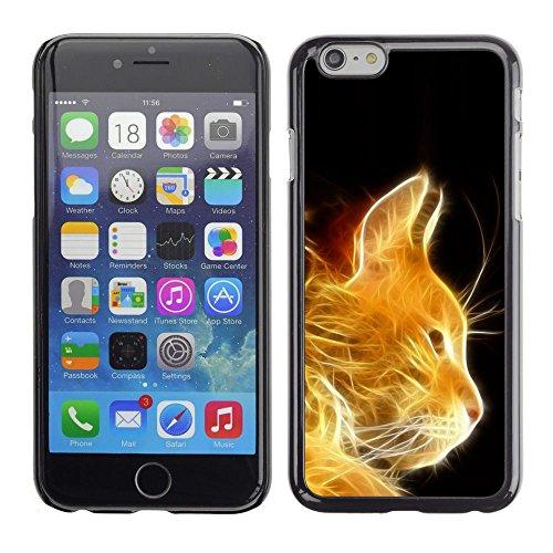 TopCaseStore / caoutchouc Hard Case Housse de protection la Peau - Cat Fire Ginger Orange Portrait Flames Furry - Apple iPhone 6 Plus 5.5