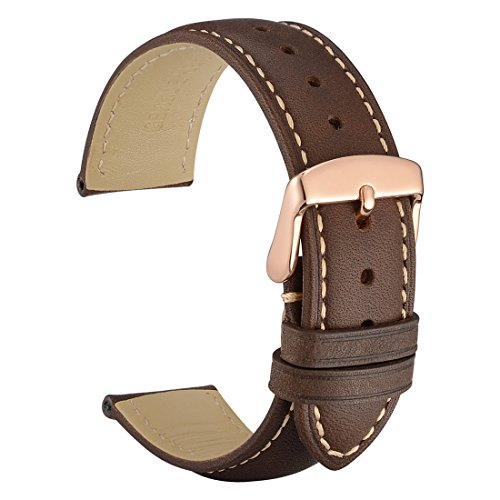 WOCCI 14mm Watch Band - Vintage Leather Watch Strap Dark Brown with Rose Gold Buckle (Contrasting Stitching)