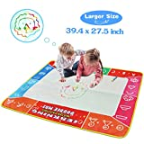 Meland Large Water Doodle Mat Colorful 39.4 X 27.5 Inch Magic Water Drawing Mat Pad with 3 Water Pens and 8 Molds, Kids Educational Travel Toy Gift for Boys Girls Toddlers Age 2 3 4 5 6, Multicolor