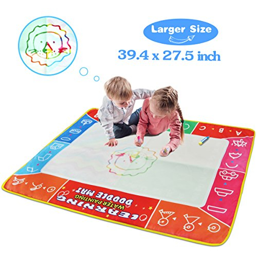 Meland Large Water Doodle Mat Colorful 39.4 X 27.5 Inch Magic Water Drawing Mat Pad with 3 Water Pens and 8 Molds, Kids Educational Travel Toy Gift for Boys Girls Toddlers Age 2 3 4 5 6, Multicolor by Meland