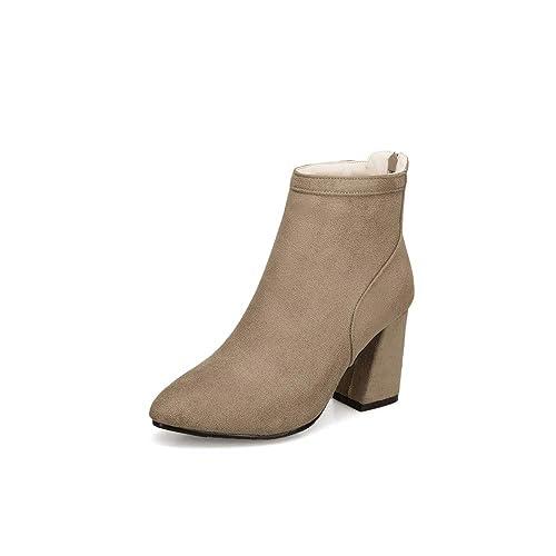 KEZIO Botines para Mujer Botines con Cremallera Lateral Grueso Tacones Altos Botas Cortas Plataforma Puntiaguda Botas de cuña Zapatos: Amazon.es: Zapatos y ...