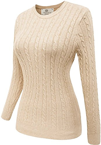 Crew Ribbed Sweatshirt (Women Basic Casual Slim Fit Knit Warm Long Sleeve Crew Neck Pullover Sweatshirt Sweater Beige X-Large)