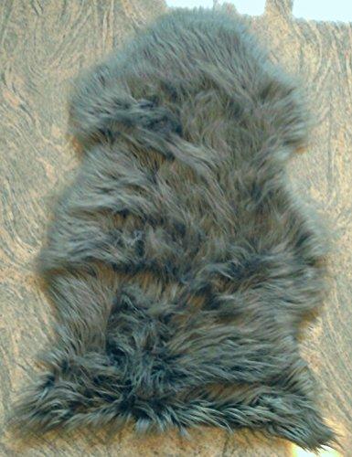 Schaffell Lammfell Fell Teppich Imitat Kunstfell Auflage Bettvorleger Schaf Lamm silber (ca. 100x140 cm)