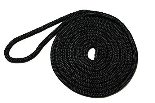Starr Lines Premium Double-Braided Nylon Dock line (Black, 1/2-Inch X 20-Feet)