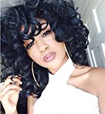 Mersi Wigs for Black Women Short Curly Wigs with Bangs Black Afro Wig Synthetic Hair Wigs with Wig Cap S006