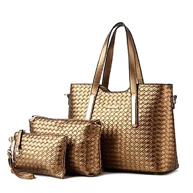 Las mujeres Casual Knit cuero pu Bolso Messenger/Tote,Gold Coffee
