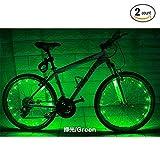 Soondar 2PCS Best Rechargeable LED Wheel Light Bicycle Wheel Spoke Tire Wire Tyre Valve LED Neon Light - Green