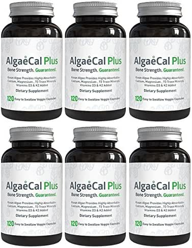 AlgaeCal Plus – Plant-Based Calcium Supplement with Magnesium, Boron, Vitamin K2 + D3   Increases Bone Strength   All Natural Ingredients   Highly Absorbable   120 Veggie Capsules per Bottle (6 Pack)