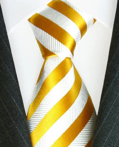 LORENZO CANA 77093 Luxury Italian 100/% Pure Silk Tie Gold Yellow White Jacquard Woven Necktie