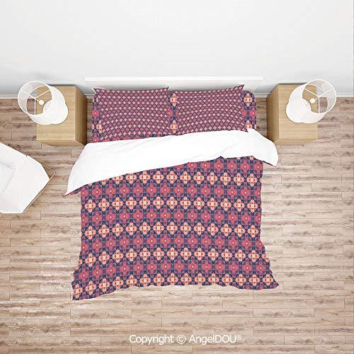 PUTIEN Modern Cotton Bedding 4 Pieces Set Duvet Cover Set,Traditional Aztec Folk Pattern Triangles Authentic Hippie Style,for Colorful Home Decor.