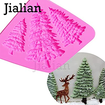 3 Hole Christmas Tree Shaped Silicone Mold Cake Decoration Fondant Cookies Tools 3D Silicone Mould Gumpaste Candy T0972