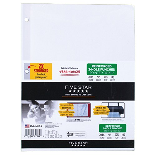Five Star Reinforced Printer Paper, 3 Hole Punch, 100 sheets, 1 Pack (39000)