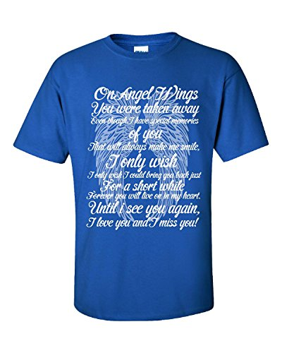 Angel Wings Lost Loved One I Miss You - Adult Shirt Xl Royal (Lost Angels T-shirt)