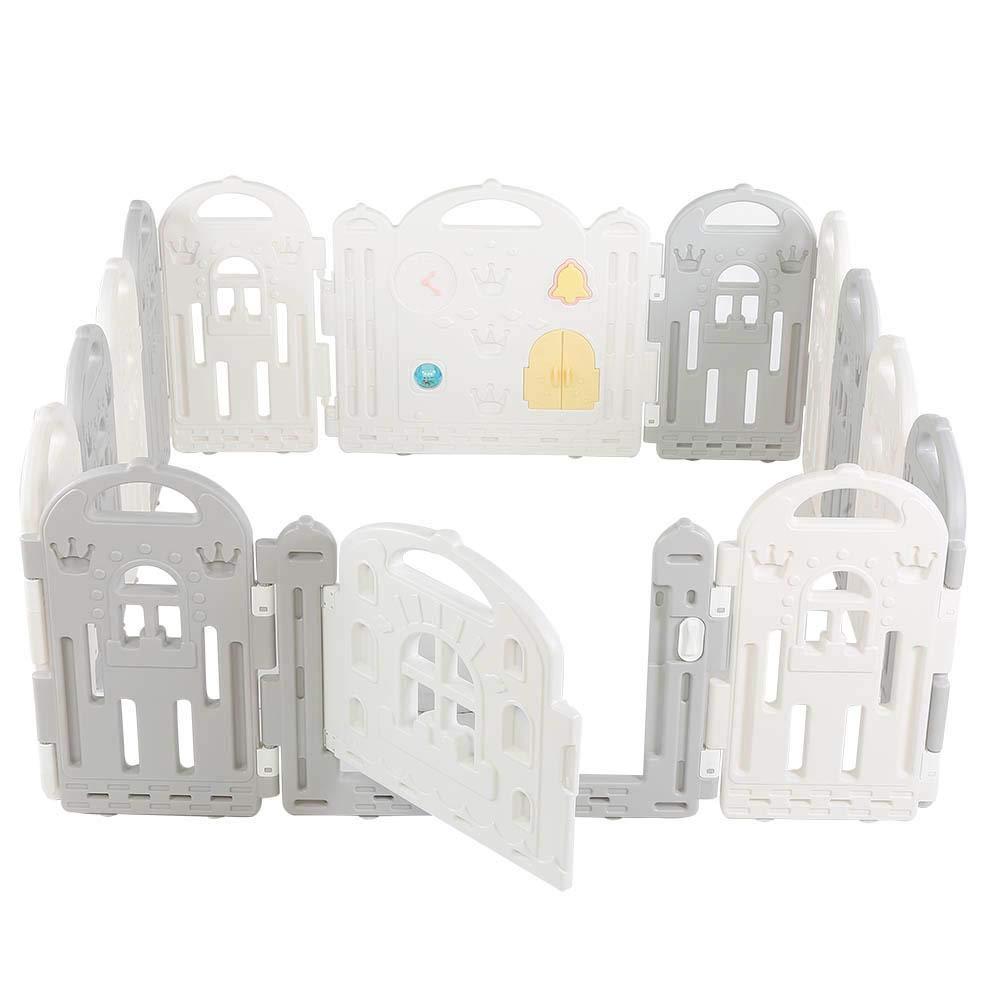 lyrlody Sicurezza Barriera Pieghevole,Box per Bambini,Recinto per Bambini Barriera di Sicurezza,Cancelletto Recinto con 14 Grigio Pannelli,con Porta Plastica Estensibile