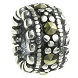 Sterling Silver Rondelle Natural Marcasite European Style Bead Charm