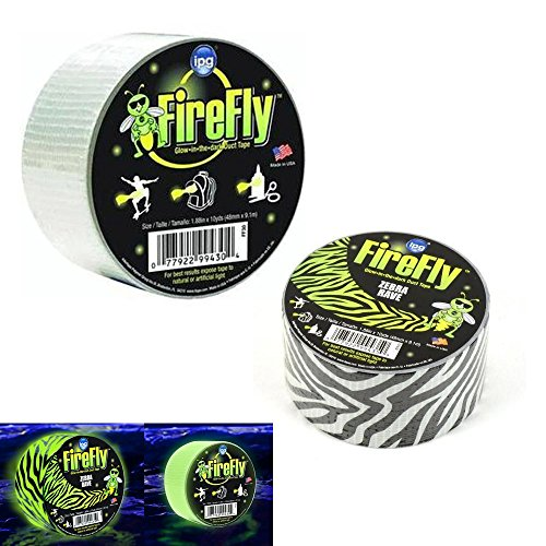 """2 ROLLS GLOW IN THE DARK DUCT TAPE ZEBRA RAVE FIREFLY BY IPG 1.88/"""" X 10 YDS EACH"""