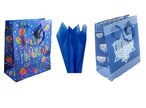 Set of 6 Large Hanukkah Gift Bags with Gift Tissue - Chanukah Bag