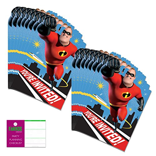 Incredibles 2 Party Invitations For 16 Guests