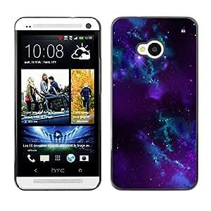TECHCASE**Cubierta de la caja de protección la piel dura para el ** HTC One M7 ** Blue Purple Nebula Black Hole Stars Universe