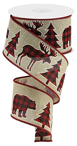 (Plaid Moose, Bear, and Trees Wired Edge Ribbon, 2.5