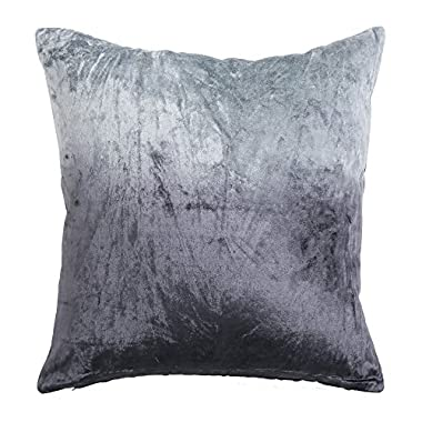 Best Home Fashion 1 Piece Ombre Velvet Pillow Cover, 18 by 18 , Grey