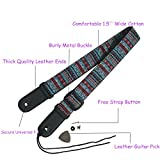 Bohemian Cotton Ukulele Shoulder Strap,1.5 Inch Adjustable Metal Buckle Ukulele Straps,Hawaii Ukulele Accessories Guitar Shoulder Straps With Button And PU Leather Ends,1 Leather Guitar Pick Quality