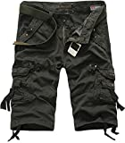 LOVECC Men's Cotton Fit Multi Pocket Cargo Shorts(No Belt)