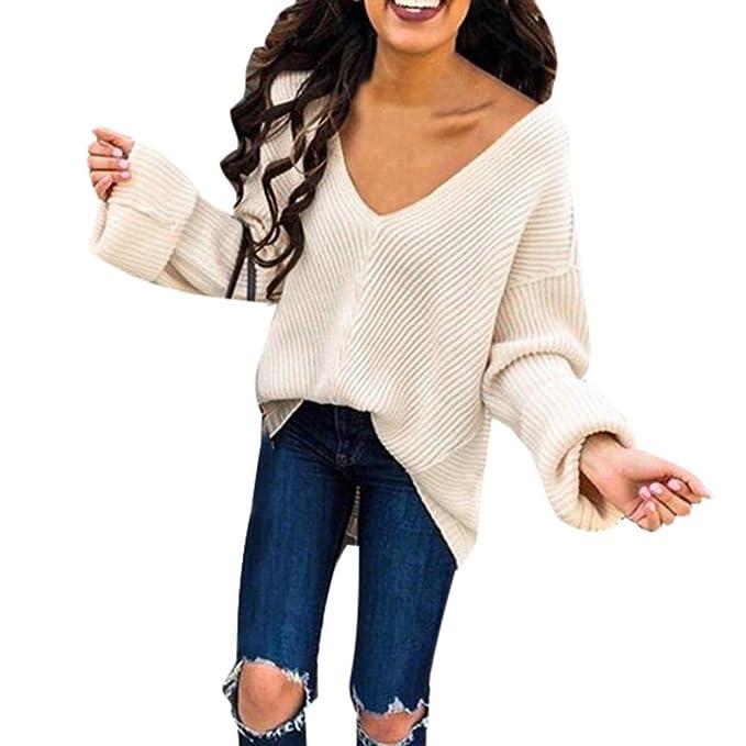 OSYARD Venta en línea, Sudadera Mujer Suéter, Mujeres Sexy Profundo Cuello v Suéter Suelto
