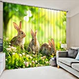 Cute Bunny Rabbit on Green Grass Graphic Design Window Curtain by LB, Easter Holiday Animal Theme Decor Curtain, Living Room Bedroom House Decor Drapes Panels, 80x84 Inches (2 Panels Size)