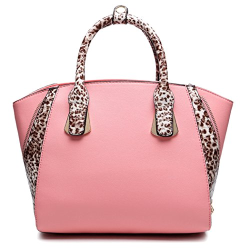 BEMAGSA Leopard Handle Handbag(pink)