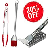 Hokichen BBQ Grill Brush and Scraper Best Rated, Safe Barbecue Grill Cleaner Brushs, 18'' Best Stainless Steel Bristle Grill Brush Cleaning Tool – Tong and Basting Brush Bonus