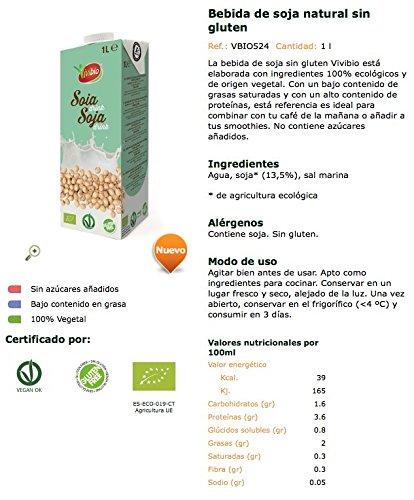 Vivibio Bebida Vegetal de Soja Natural sin Gluten - Paquete de 6 x 1000 ml - Total: 6000 ml: Amazon.es: Alimentación y bebidas