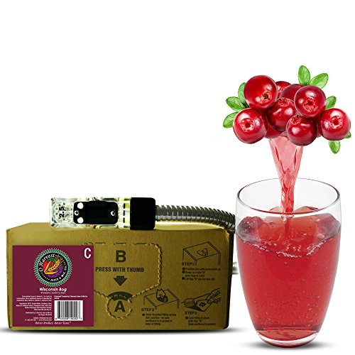 Wisconsin Bog Craft Cranberry Juice (3 Gallon Bag-in-Box Syrup Concentrate) - Box Pours 15 Gallons of Cranberry Juice - Use with Bar Gun, Soda Fountain or SodaStream